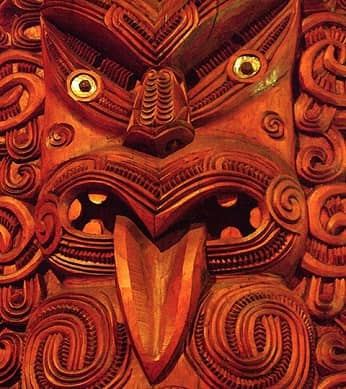 A Maori wood carving